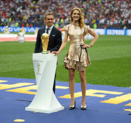 MOSCOW, RUSSIA - JULY 15:  Former German International Footballer, Philipp Lahm and Philanthropist, Natalia Vodianova present the 2018 FIFA World Cup Original Trophy ahead of the 2018 FIFA World Cup Final between France and Croatia at Luzhniki Stadium on July 15, 2018 in Moscow, Russia.  (Photo by Matthias Hangst/Getty Images)