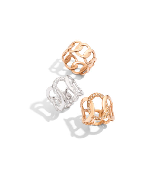 BRERA rings in rose gold, white gold with diamonds by Pomellato